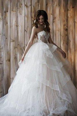 Robe de mariée de mode de bal avec zip appliques avec sans manches lache