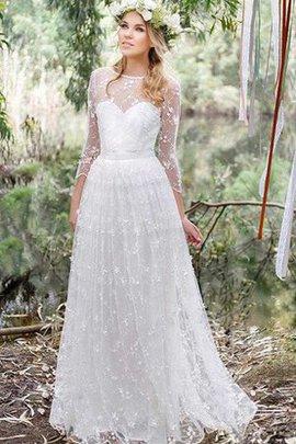 Robe de mariée col en v foncé en 3/4 manche en dentelle ligne a avec fleurs