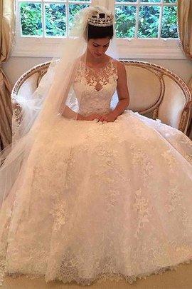 Robe de mariée naturel ligne a de traîne moyenne appliques encolure ronde