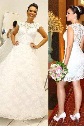 Robe de mariée naturel encolure ronde de mode de bal jusqu'au sol avec sans manches