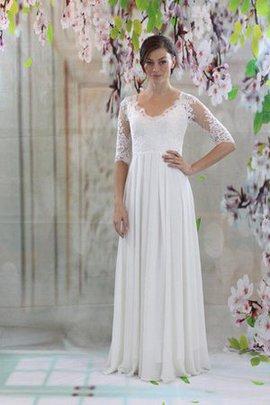 Robe de mariée plissé de col en v avec manche 1/2 en chiffon trou serre