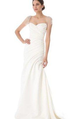 Robe de mariée facile longue textile taffetas avec manche courte ligne a