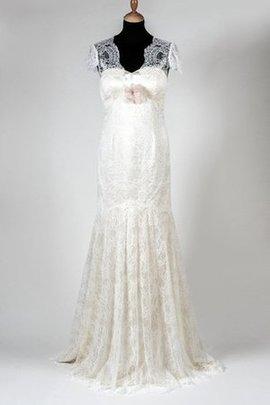 Robe de mariée naturel de sirène v encolure trou de serrure avec manche courte