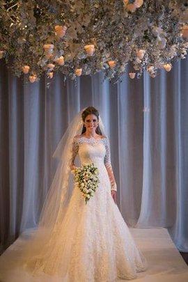 Robe de mariée plissé humble ligne a fermeutre eclair avec manche longue