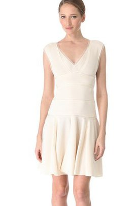 Robe de mariée naturel de col en v avec zip ligne a avec sans manches