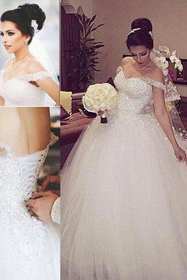 Robe de mariée naturel epaule nue de mode de bal manche nulle textile en tulle