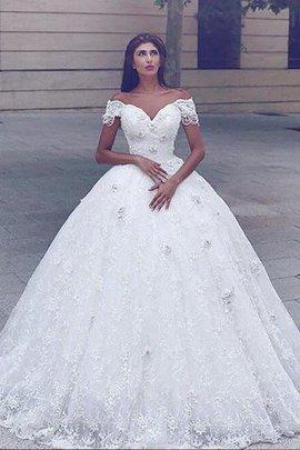 Robe de mariée naturel de traîne mi-longue de sirène manche nulle bretelles spaghetti