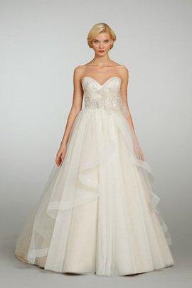 Robe de mariée naturel en organza de mode de bal dos nu avec perle