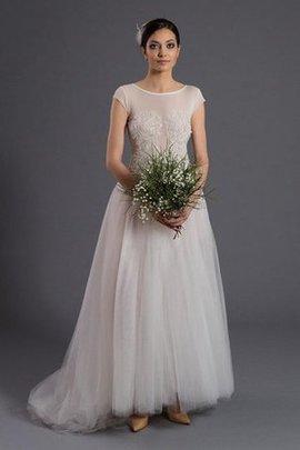 Robe de mariée naturel textile en tulle avec perle avec manche courte jusqu'au sol