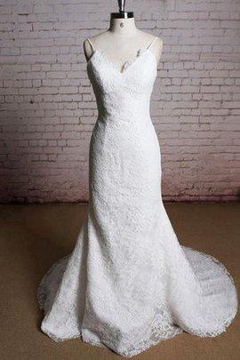 Robe de mariée de sirène fermeutre eclair en dentelle v encolure manche nulle