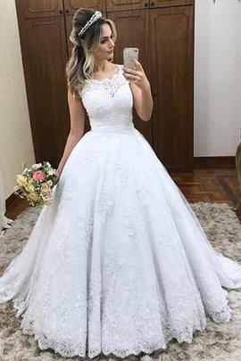 Robe de mariée de traîne courte en satin encolure ronde pétillant naturel