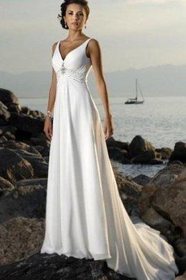 Robe de mariée majestueux avec perle ruché de traîne moyenne col en v foncé