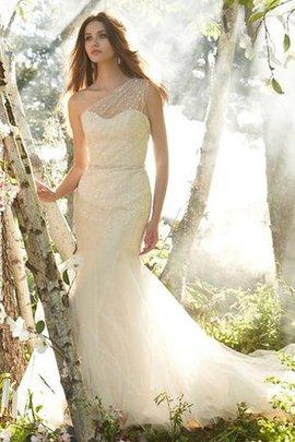 Robe de mariée naturel avec cristal en tulle en satin de sirène