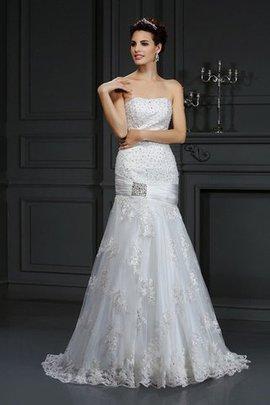 Robe de mariée longue de traîne moyenne avec lacets avec sans manches en satin
