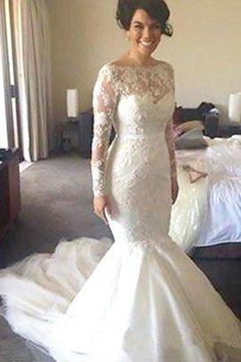 Robe de mariée avec manche longue a-ligne de princesse en tulle de traîne moyenne