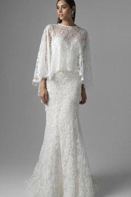 Robe de mariée formelle naturel de fourreau appliques avec mousseline