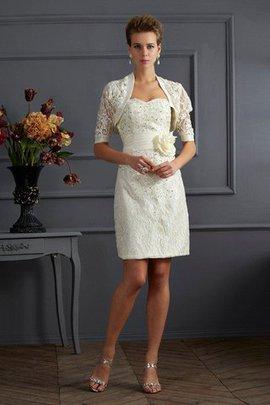 Robe mère de mariée naturel avec zip avec sans manches de col en cœur appliques