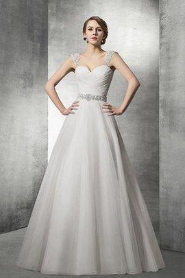 Robe de mariée sage charmeuse fermeutre eclair avec perle de col en cœur