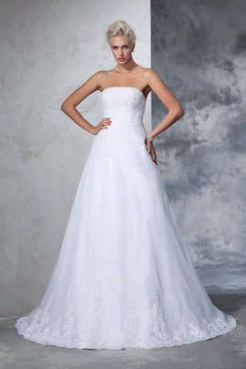 Robe de mariée de traîne moyenne de bustier avec lacets de mode de bal appliques