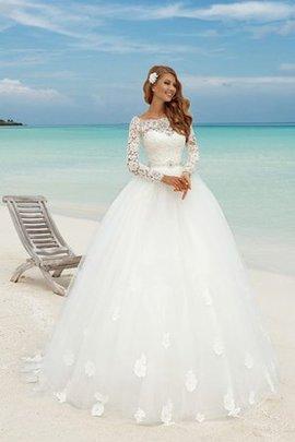 Robe de mariée longue ligne a de traîne moyenne avec nœud à boucles textile en tulle