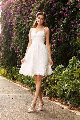 Robe de mariée bref a-ligne au niveau de genou decoration en fleur manche nulle