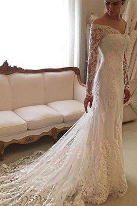 Robe de mariée naturel de traîne moyenne d'epaule ecrite avec manche longue de fourreau
