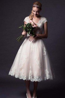 Robe de mariée elégant humble avec bouton avec manche épeules enveloppants ligne a