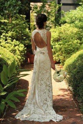 Robe de mariée naturel de traîne courte de fourreau v encolure avec sans manches