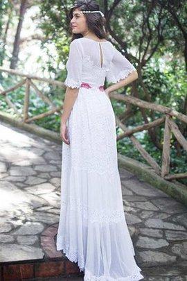 Robe de mariée simple avec décoration dentelle a-ligne col en bateau en 1/2 manche
