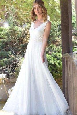 Robe de mariée facile de traîne courte manche nulle avec ruban avec chiffon