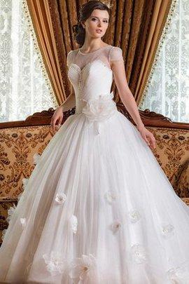 Robe de mariée naturel de mode de bal croisade jusqu'au sol avec manche courte
