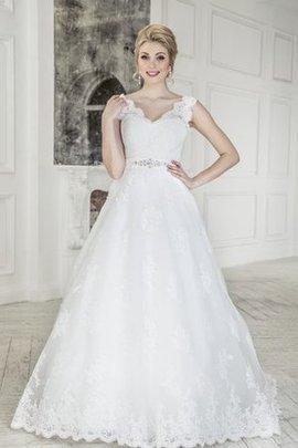Robe de mariée naturel longue cordon avec nœud a-ligne
