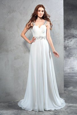 Robe de mariée longue fermeutre eclair de traîne courte ligne a manche nulle
