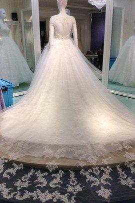 Robe de mariée modeste encolure ronde a-ligne avec perle boutonné