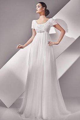 Robe de mariée simple avec perle decoration en fleur avec chiffon boutonné