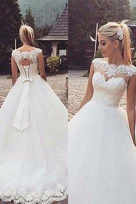 Robe de mariée naturel avec sans manches col en bateau textile en tulle de mode de bal