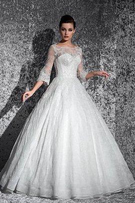 Robe de mariée modeste longue de traîne moyenne de mode de bal col en bateau