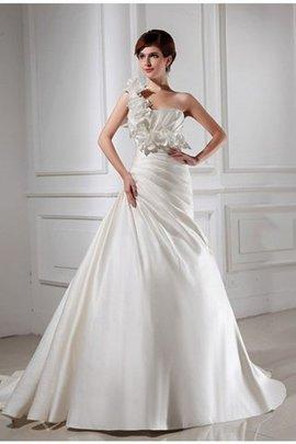 Robe de mariée manche nulle avec fleurs de princesse d'épaule asymétrique cordon