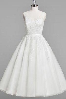 Robe de mariée plissage facile romantique v encolure a-ligne
