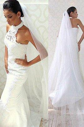Robe de mariée naturel dénudé de sirène de traîne courte manche nulle