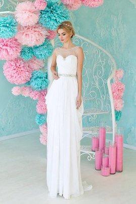 Robe de mariée facile nature avec sans manches avec perle encolure ronde