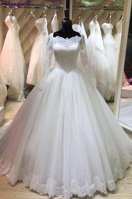 Robe de mariée modeste plissage avec manche longue cordon appliques