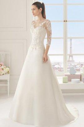 Robe de mariée classique manche nulle a-ligne de col bateau col en forme de cœur