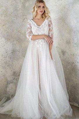 Robe de mariée avec bouton ligne a avec décoration dentelle v encolure avec perle