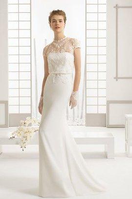 Robe de mariée classique longue sexy avec manche courte avec broderie