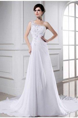 Robe de mariée manche nulle ligne a de tour de ceinture en haute avec lacets appliques