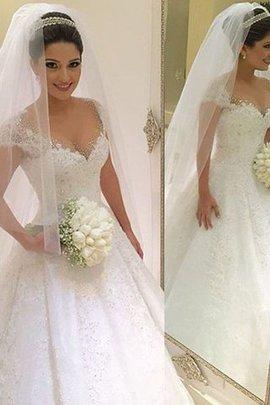Robe de mariée naturel textile en tulle de col en v manche nulle avec perle