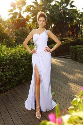 Robe de mariée longue en chiffon manche nulle de tour de ceinture en haute avec zip