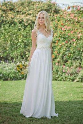 Robe de mariée charmeuse de col en v fermeutre eclair avec fleurs ligne a