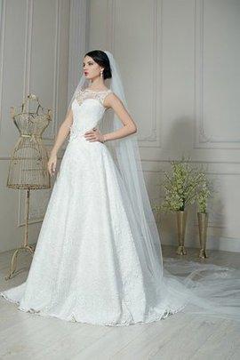 Robe de mariée naturel cordon avec fleurs manche nulle a-ligne